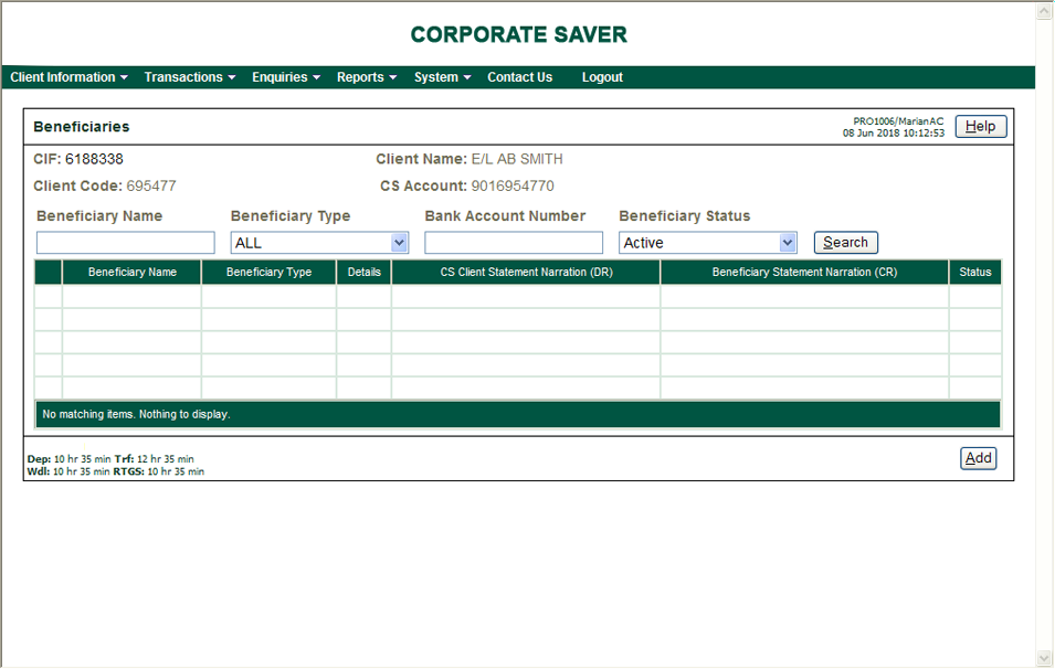 Corporate Saver: Adding a client beneficiary